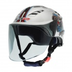 Cool Motorcycle Outdoor Sports Racing UV Protection Helmet - Silvery Grey + Red + Black