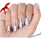 24-in-1 Electroplating ABS Artificial Nail Set - Silver