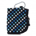 TINDO 3004 Star Pattern Portable Neoprene Bag w/ Carabiner Clip - Black + Blue