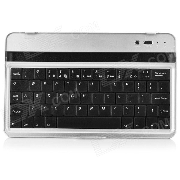 Bluetooth V3.0 Rechargeable Aluminum Alloy Cover 61-Key Keyboard for Google Nexus 7 - Silver + Black