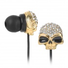 KS-S003 Skull Style In-Ear Earphones - Golden + Black (3.5mm Plug / 120cm)