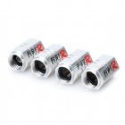 TYPE-R JW-2201 Aluminum Alloy Car Tire Valve Caps - Silver (4 PCS)