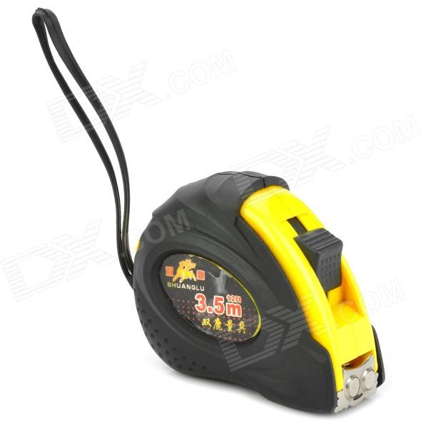GJ2016 Carbon Steel Reel Measuring Tape - Black + Yellow (3.5-Meter / 12FT)