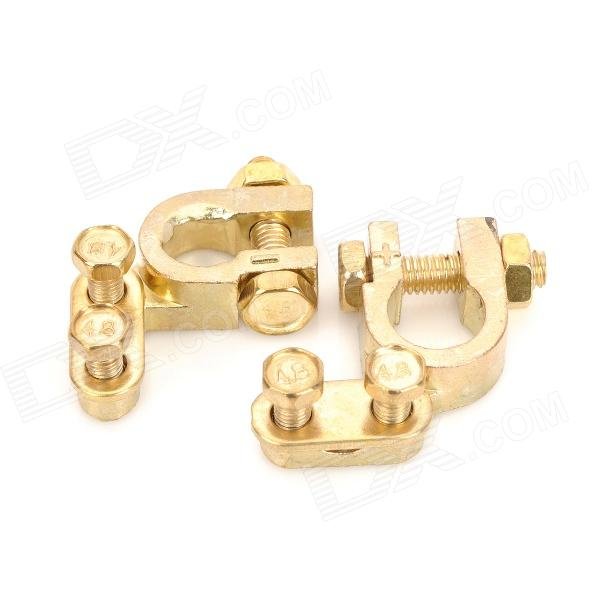 Copper Car Battery Terminals Clamps Connectors - Golden (2 PCS / Size S)