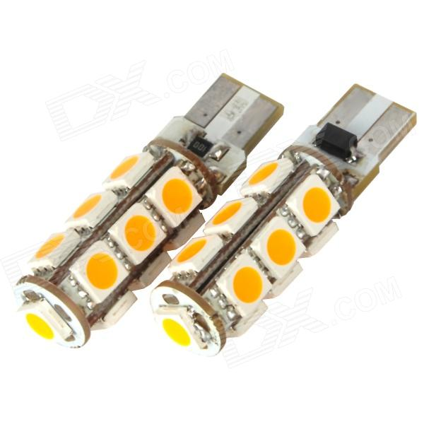 DianZi F113C Y T10 2.34W 169lm 585nm 13-SMD 5050 LED Yellow Light Car Decoration Lamps (2 PCS / 12V) dianzi 109cw g4 1 62w 207lm 9 smd 5050 led white light car decoration lamp 12v 2 pcs
