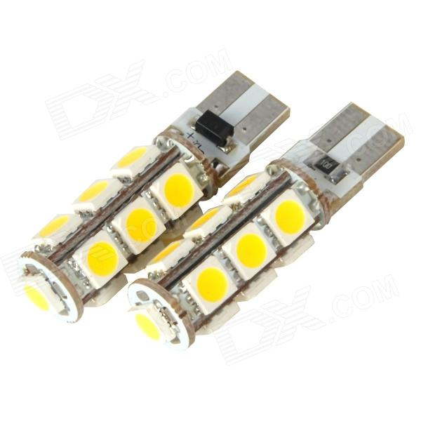 DianZi F113C NW T10 2.23W 299lm 13-SMD 5050 LED Warm White Light Car Clearance Lamp (2 PCS / 12V) dianzi 109cw g4 1 62w 207lm 9 smd 5050 led white light car decoration lamp 12v 2 pcs