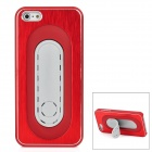 PG010 Plastic Metal Brushed Protective Hard Back Case for Iphone 5 - Red