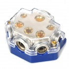 Ground Distribution Block for Car Audio System - Silver + Blue (1-In / 5-Out)