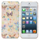 Romantic Butterfly & Flower Playing Pattern Protective ABS Case with Screen Protector for iPhone 5