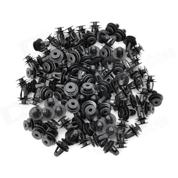 Plastic Universal 22mm Car Door Panel Push Type Retainers Trim Clips Kit - Black (100 PCS)