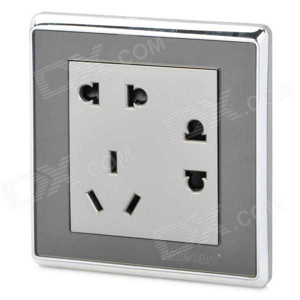 SMEONG Modern 3-Power Socket Wall Mount Plate - Silver (AC 250V) rainbo brand free shipping wall power socket new outlet france standard crystal glass panel ac110 250v 16a wall socket a18fw b