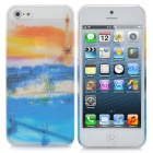 Beautiful Nature Scenery Pattern Protective ABS Case for iPhone 5 - Blue + White + Orange