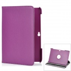Lychee Pattern 360 Degrees Rotation Protective PU + PC Case for Samsung P5100 - Purple