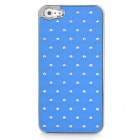 Electroplating Checkered Rhinestone Style Protective Plastic Back Case for iPhone 5 - Royal Blue