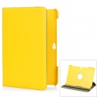 Lychee Pattern 360 Degrees Rotation Protective PU + PC Case for Samsung P5100 - Yellow