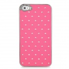 Electroplating Checkered Rhinestone Style Protective Plastic Back Case for Iphone 5 - Deep Pink