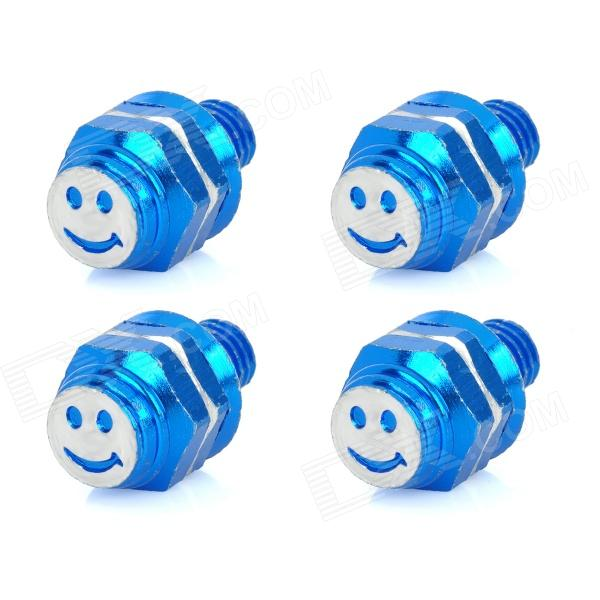 DIY 8mm Smiley Face Style Motorcycle Mounting Screws - Blue (4 PCS)