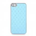 Electroplating Checkered Rhinestone Style Protective Plastic Back Case for iPhone 5 - Light Blue