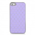 Electroplating Checkered Rhinestone Style Protective Plastic Back Case for iPhone 5 - Purple