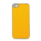 Electroplating Checkered Rhinestone Style Protective Plastic Back Case for iPhone 5 - Yellow