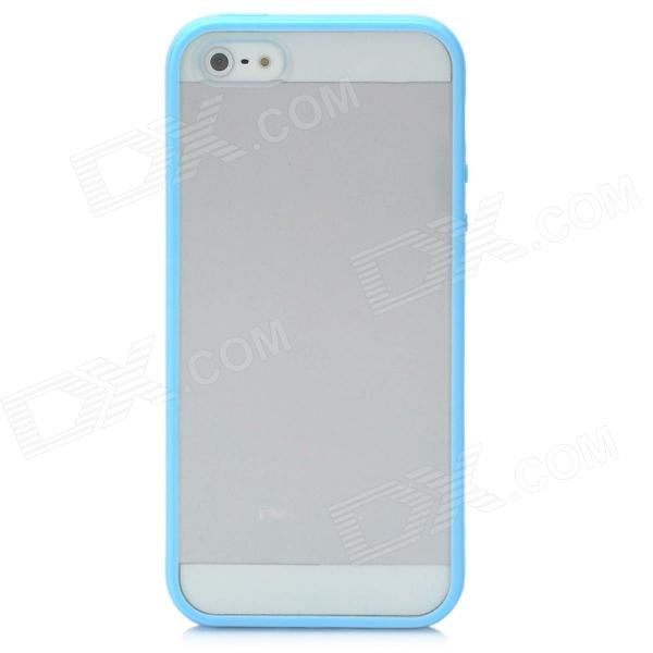 Protective Ultra-Thin Plastic Hard Back Case for Iphone 5 - Blue + Transparent novodio slatemamba phone case hard plastic thin fit cover for apple iphone 6 plus 5 5 inch