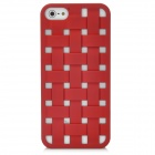 Cool Protective Woven Hollow-out Grid Plastic Hard Back Cover Case for Iphone 5 - Red