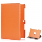 Lychee Pattern 360 Degrees Rotation Protective PU + PC Case for Samsung P5100 - Orange