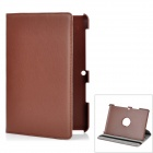 Lychee Pattern 360 Degrees Rotation Protective PU + PC Case for Samsung P5100 - Brown