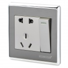 SMEGONG Modern 2-Power Socket 1-Switch Wall Mount Plate - Silver (AC 250V)