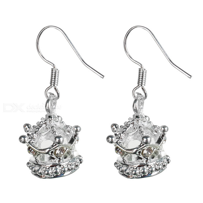 Beautiful 925 Silver Crown Earring in Gift Box the silver crown