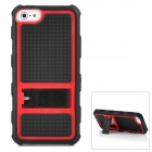Protective PC + Silicone Hard Back Case Stand for iPhone 5 - Black + Red