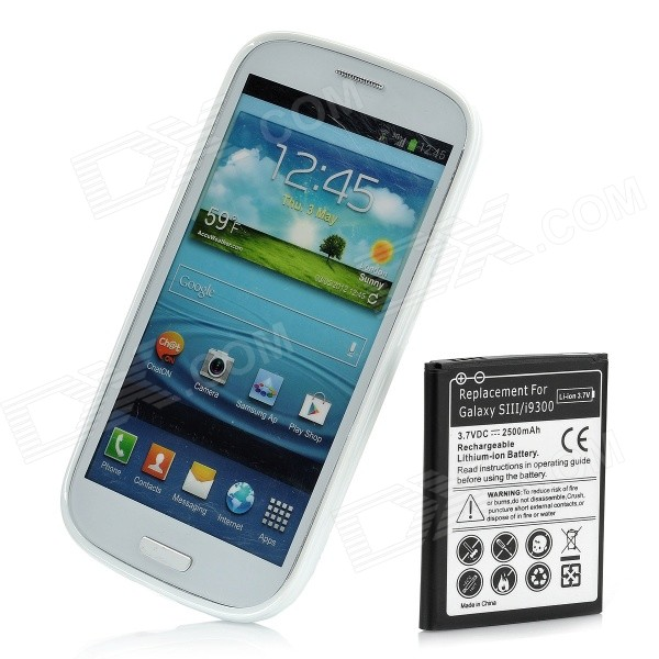 Replacement 2500mAh Battery and PVC Back Case Kit for Samsung Galaxy S3 / i9300 - White