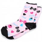 Cute Cotton Socks for Children - Pink + Black (Pair)