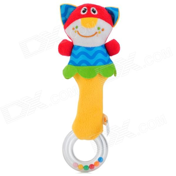 Cartoon Cat Style Baby Rattle Toy Plush Hand Hold Shake Stick - Blue + Red + Yellow silver plated baby rattle keepsake set perfect gift idea