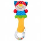 Cartoon Cat Style Baby Rattle Toy Plush Hand Hold Shake Stick - Blue + Red + Yellow