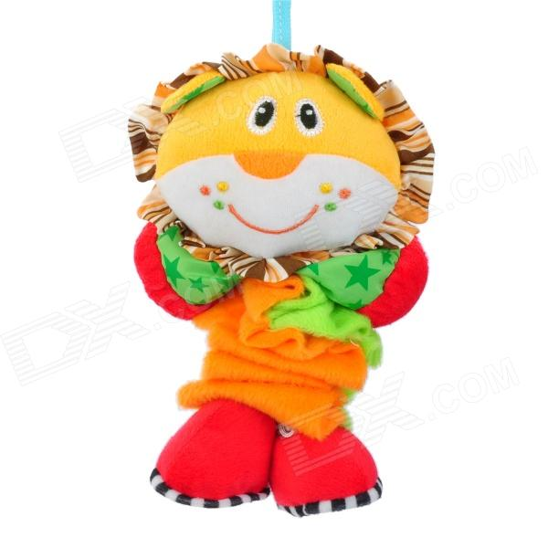 Colorful Lion Style Hanging Musical Crib Pull Plush Toy - Green + Red + Yellow + White