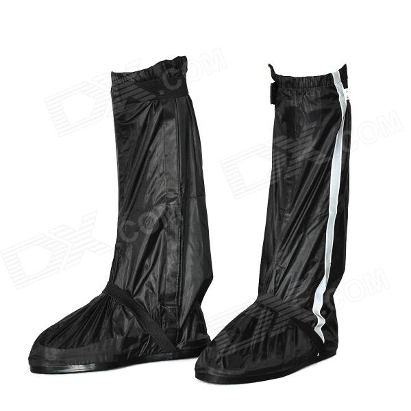 Motorcycle Waterproof Rain Boot Shoes Cover w/ Reflective Tape - Black (Size 40~41) купить дешево онлайн