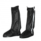 Motorcycle Waterproof Rain Boot Shoes Cover w/ Reflective Tape - Black (Size 40~41)
