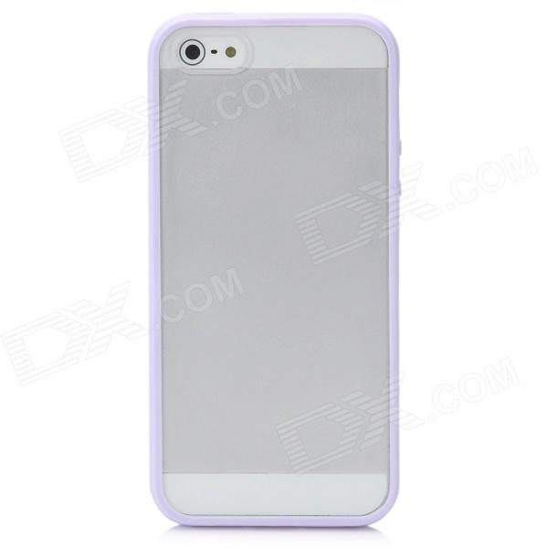 Protective Ultra-Thin Plastic Hard Back Case for Iphone 5 - Purple + Transparent
