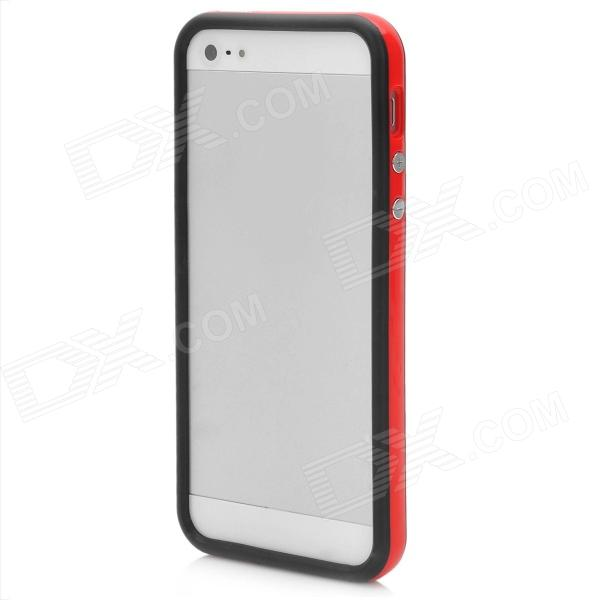 Ultra-Thin Protective Silicone Bumper Frame for Iphone 5 - Red + Black ultra thin protective silicone bumper frame for iphone 5 black