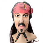 Halloween Costume Caribbean Pirate Jack Sparrow Wig Mask - Red + Black + Flesh Color