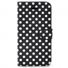 Polka Dot Pattern Protective PU Leather Flip-Open Case w/ Magnetic Buckle for Iphone 5 - Black
