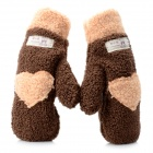 Love Heart Warm Keeping Winter Full Finger Gloves - Beige + Coffee (Pair)