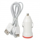 Mini USB Car Power Adapter + Charging / Data Cable Kit for iPhone 5 - White