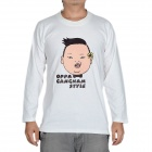 Fashion Oppa Gangnam Style Long Sleeves T-shirt - White (Size-XXXL)