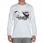 Fashion Gangnam Style Long Sleeves T-shirt - White (Size-L)
