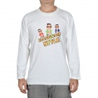 Fashion Gangnam Style Long Sleeves T-shirt - White (Size-XXXL)