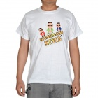 Fashion Gangnam Style Short Sleeves T-shirt - White (Size-XL)