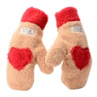 Love Heart Warm Keeping Winter Full Finger Gloves - Beige + Red (Pair)