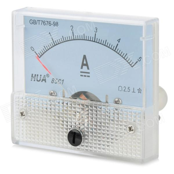 DC 0~5A Square Panel Mounting Analog Amp Current Meter Ammeter - White
